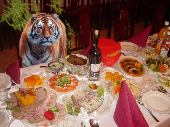 Tygrys na weselu - nie dziwota, że sam przy stole...