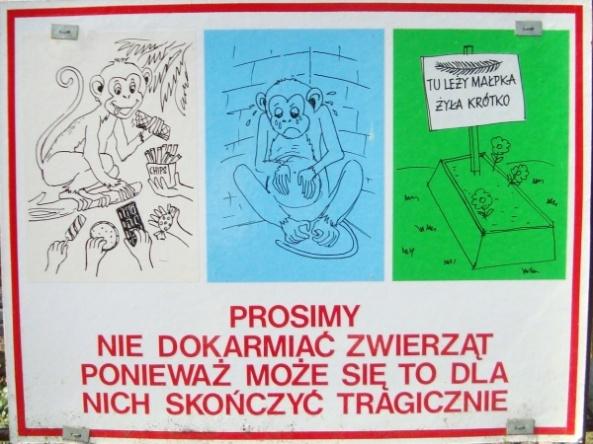 Ogrody zoologiczne w różny sposób ostrzegają, aby nie karmić zwierząt - tu Ogród Fauny Polskiej w Bydgoszczy