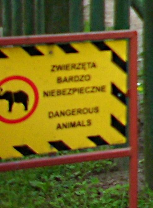 Taki komunikat znajdziemy w ZOO w Gdańsku przy bardzo wielu wybiegach