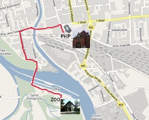 Trasa z Dworca PKP do Ogrodu Zoologicznego w Opolu