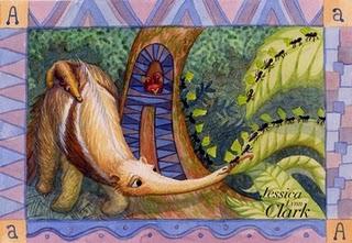 """A jak Anteater - ilustracja z książeczki dla dzieci """"Alfabet zwierząt Amazonii"""", autorstwa Jessiki Clark (źródło: http://mecollective.blogspot.com/2009/07/09-working-artists-show-jessica-lynn.html)"""