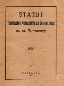 Statut Towarzystwa Przyjaciół Ogrodu Zoologicznego m. st. Warszawy (1927)