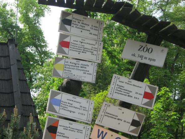W krakowskim zoo znajdziemy też drogowskazy do różnych ciekawych miejsc :)