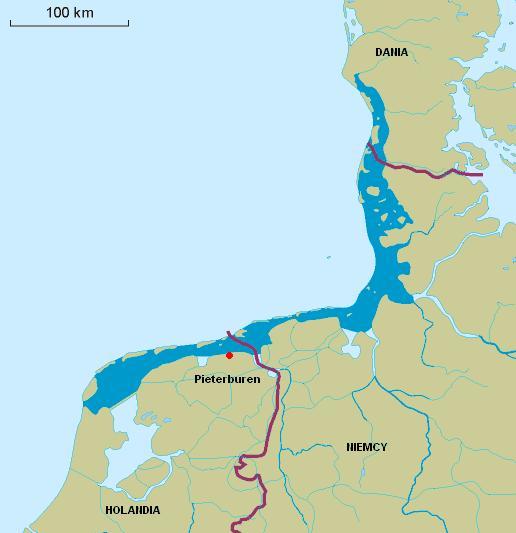 Morze Wattowe z zaznaczonym Pieterburen